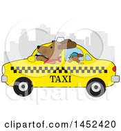 Clipart Of A Cute Cabbie Dog Driving A Puppy In A New York Taxi Royalty Free Vector Illustration