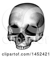 Poster, Art Print Of Black And White Engraved Human Skull