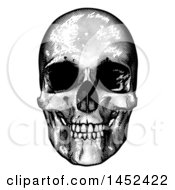 Clipart Of A Black And White Engraved Human Skull Royalty Free Vector Illustration