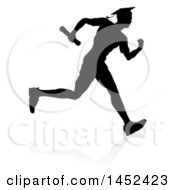 Clipart Of A Black Silhouetted Male Graduate Running A Race With A Shadow Royalty Free Vector Illustration by AtStockIllustration