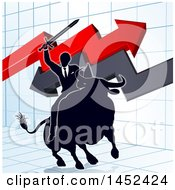 Clipart Of A Silhouetted Business Man Holding A Sword And Riding A Stock Market Bull Against A Graph With Arrows Royalty Free Vector Illustration by AtStockIllustration
