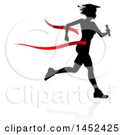 Clipart Of A Black Silhouetted Female Graduate Running A Race With A Shadow Breaking Through A Red Finish Line Ribbon Royalty Free Vector Illustration