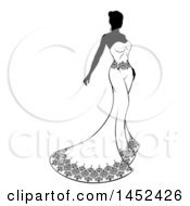Clipart Of A Silhouetted Black And White Bride In A Strapless Dress Royalty Free Vector Illustration