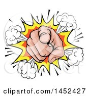 Clipart Of A Cartoon Caucasian Hand Pointing Outwards In A Comic Burst Royalty Free Vector Illustration