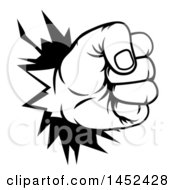 Clipart Of A Black And White Fist Punching A Hole Through A Wall Royalty Free Vector Illustration