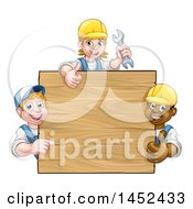 Clipart Of A Group Of Workers Around A Blank Wooden Sign Sign Royalty Free Vector Illustration by AtStockIllustration