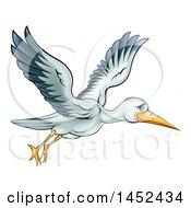 Poster, Art Print Of Cartoon Stork Bird In Flight