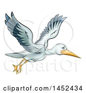 Clipart Of A Cartoon Stork Bird In Flight Royalty Free Vector Illustration