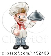 Clipart Of A Cartoon Full Length Happy Young White Male Chef Holding A Cloche Platter And Giving A Thumb Up Royalty Free Vector Illustration
