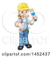 Poster, Art Print Of Cartoon Full Length Happy White Female Painter Holding Up A Brush And Thumb