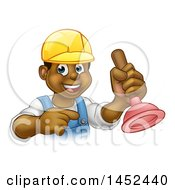 Clipart Of A Cartoon Happy Black Male Plumber Holding A Plunger And Pointing Royalty Free Vector Illustration