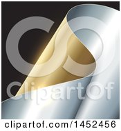 Clipart Of A Curving Gold And Silver Scroll On Black Royalty Free Vector Illustration
