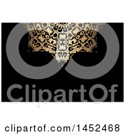 Clipart Of A Golden Ornate Fancy Design On Black Business Card Or Background Royalty Free Vector Illustration