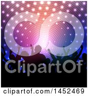 Clipart Of A Crowd Of Silhouetted People Dancing Or Cheering Against Disco Lights Royalty Free Vector Illustration