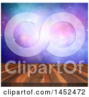 Clipart Of A 3d Wooden Surface With A Nebula Night Sky Royalty Free Illustration