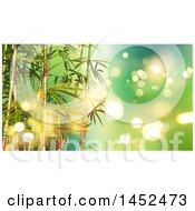 Clipart Of A Background Of 3d Bamboo Stalks Over Green With Flares Royalty Free Illustration by KJ Pargeter