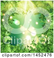 Clipart Of A Border Of 3d Green Leaves With Sunshine And Flares Royalty Free Illustration by KJ Pargeter