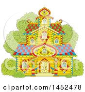 Clipart Of A Cartoon Ornate Tower Building Royalty Free Vector Illustration