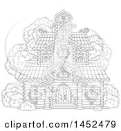 Clipart Of A Cartoon Black And White Lineart Ornate Tower Building Royalty Free Vector Illustration