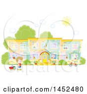 Clipart Of A Caucasian Kindergarten School Boy Outside Of A Building On A Sunny Day Royalty Free Vector Illustration