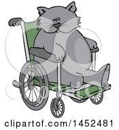 Poster, Art Print Of Cartoon Chubby 3 Legged Cat In A Wheelchair