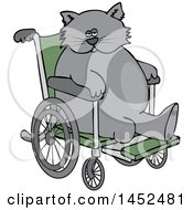 Clipart Of A Cartoon Chubby 3 Legged Cat In A Wheelchair Royalty Free Vector Illustration