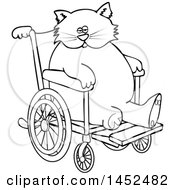 Clipart Of A Cartoon Black And White Lineart Chubby 3 Legged Cat In A Wheelchair Royalty Free Vector Illustration
