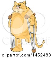 Cartoon Chubby 3 Legged Ginger Cat Using Crutches