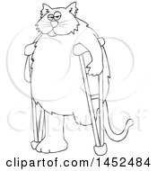 Clipart Of A Cartoon Black And White Lineart Chubby 3 Legged Cat Using Crutches Royalty Free Vector Illustration