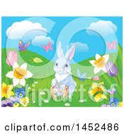 Cute Easter Bunny Rabbit With A Basket Of Eggs In A Spring Meadow