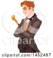 Clipart Of A Gentleman With A Skull Cane Royalty Free Vector Illustration