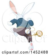 Clipart Of A Rear View Of A Late White Rabbit Of Wonderland Running Royalty Free Vector Illustration