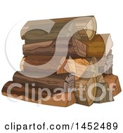 Clipart Of A Pile Of Split Firewood Royalty Free Vector Illustration