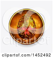 Poster, Art Print Of Golden Mosaic Or Pixel Easter Egg With A 2017 Ribbon Inside A Flare Circle On Shaded Light Gray