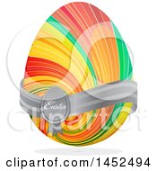 Colorful Striped Easter Egg With A Gray Ribbon Shadow And Text