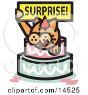 Ginger Cat Holding A Surprise Sign And Popping Out Of A Birthday Cake Clipart Illustration