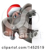 3d Christmas Elephant Character Pointing Around A Sign On A White Background