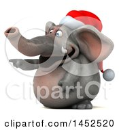 3d Christmas Elephant Character Pointing On A White Background
