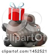 Poster, Art Print Of 3d Elephant Character Holding A Gift On A White Background