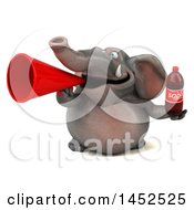 Clipart Graphic Of A 3d Elephant Character Holding A Soda On A White Background Royalty Free Illustration