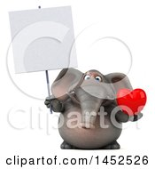 Poster, Art Print Of 3d Elephant Character Holding A Heart On A White Background