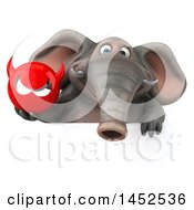 Clipart Graphic Of A 3d Elephant Character Holding A Devil Head On A White Background Royalty Free Illustration