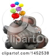Clipart Graphic Of A 3d Elephant Character Holding Speech Bubbles On A White Background Royalty Free Illustration
