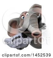 Clipart Graphic Of A 3d Elephant Character Holding A Plane On A White Background Royalty Free Illustration