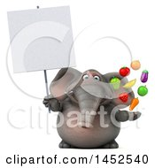 Clipart Graphic Of A 3d Elephant Character Holding Produce On A White Background Royalty Free Illustration