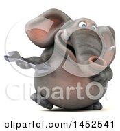 Clipart Graphic Of A 3d Elephant Character Holding A Wrench On A White Background Royalty Free Illustration