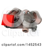 3d Elephant Character Holding A Shopping Bag On A White Background