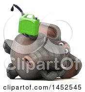 Clipart Graphic Of A 3d Elephant Character Holding A Gas Can On A White Background Royalty Free Illustration