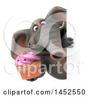 Clipart Graphic Of A 3d Elephant Character Holding A Cupcake On A White Background Royalty Free Illustration
