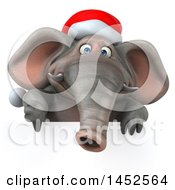 3d Christmas Elephant Character Holding A Thumb Down Over A Sign On A White Background